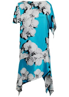 Roberto Cavalli Woman Asymmetric Floral-print Silk-satin Dress Turquoise