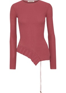 Roberto Cavalli Woman Asymmetric Lace-up Ribbed-knit Top Antique Rose