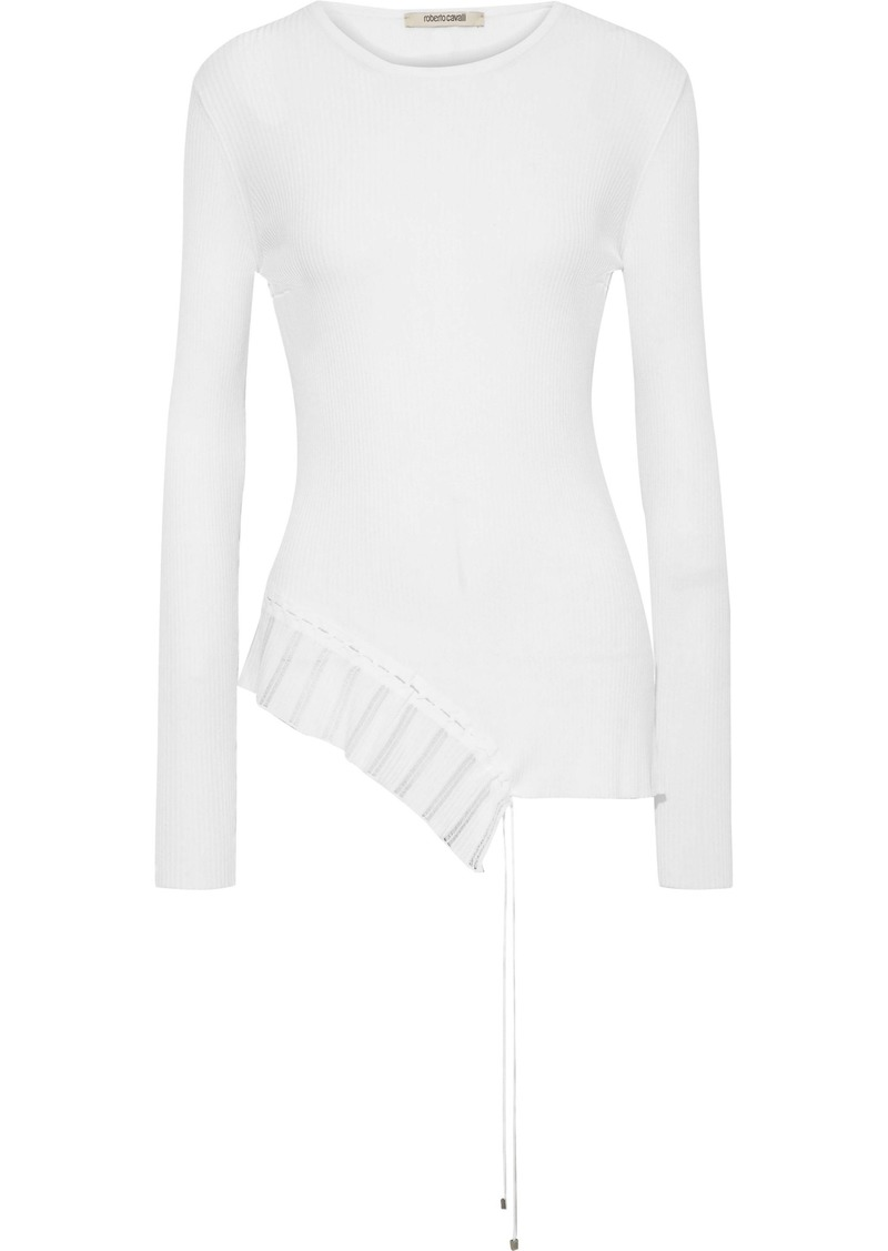 Roberto Cavalli Woman Asymmetric Lace-up Ribbed-knit Top White