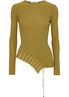 Roberto Cavalli Woman Asymmetric Lace-up Ribbed-knit Top Sage Green