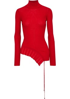 Roberto Cavalli Woman Asymmetric Lace-up Ribbed Wool Turtleneck Top Red