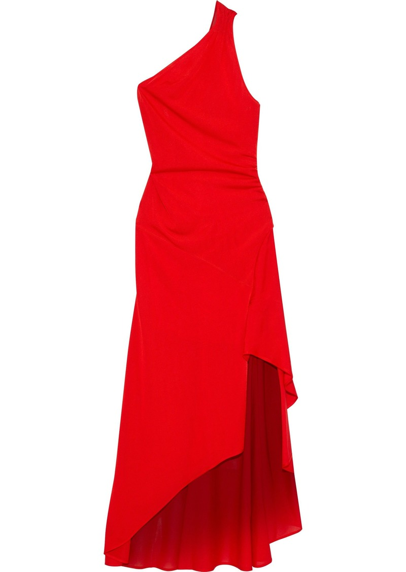 Roberto Cavalli Woman Asymmetric One-shoulder Stretch-knit Gown Red