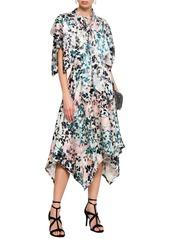Roberto Cavalli Woman Asymmetric Printed Silk-satin Midi Dress Multicolor