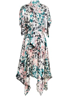 Roberto Cavalli Woman Asymmetric Printed Silk-satin Midi Dress Multicolor