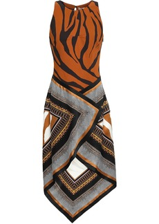 Roberto Cavalli Woman Asymmetric Printed Stretch-crepe And Silk-satin Dress Light Brown