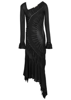Roberto Cavalli Woman Asymmetric Ruched Stretch-knit Dress Black