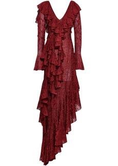 Roberto Cavalli Woman Asymmetric Ruffled Crochet-knit Midi Dress Brick
