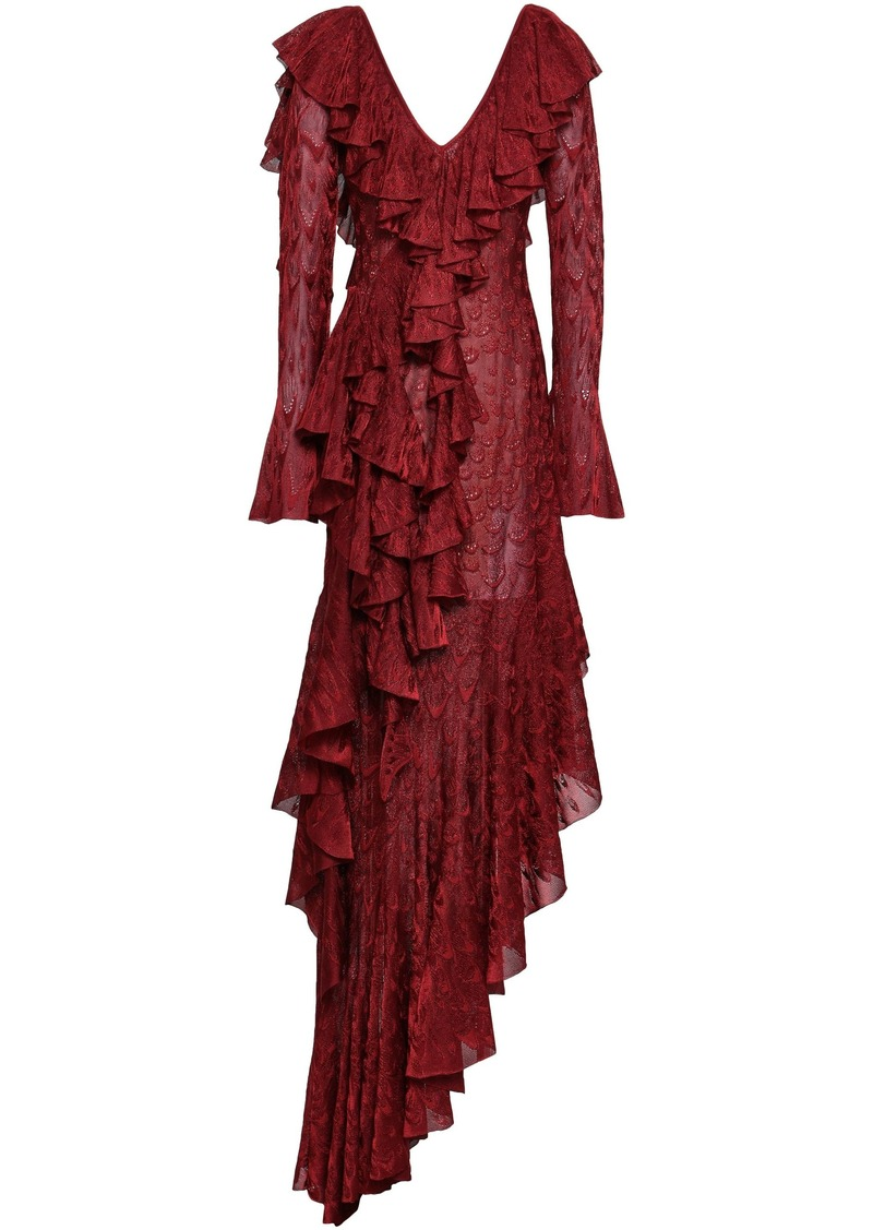 Roberto Cavalli Woman Asymmetric Ruffled Crochet-knit Midi Dress Brick