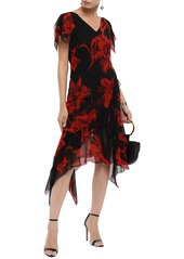 Roberto Cavalli Woman Asymmetric Ruffled Floral-print Silk-chiffon Dress Black