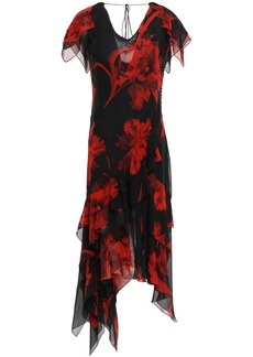 Roberto Cavalli Woman Asymmetric Ruffled Floral-print Silk-chiffon Dress Black