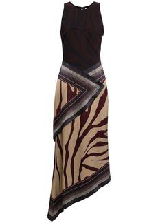 Roberto Cavalli Woman Asymmetric Zebra-print Crepe And Silk-satin Midi Dress Animal Print