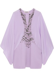Roberto Cavalli Woman Bead-embellished Crepe And Crepe De Chine Top Lilac