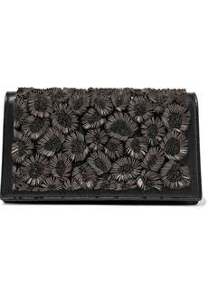 Roberto Cavalli Woman Bead-embellished Leather Shoulder Bag Black