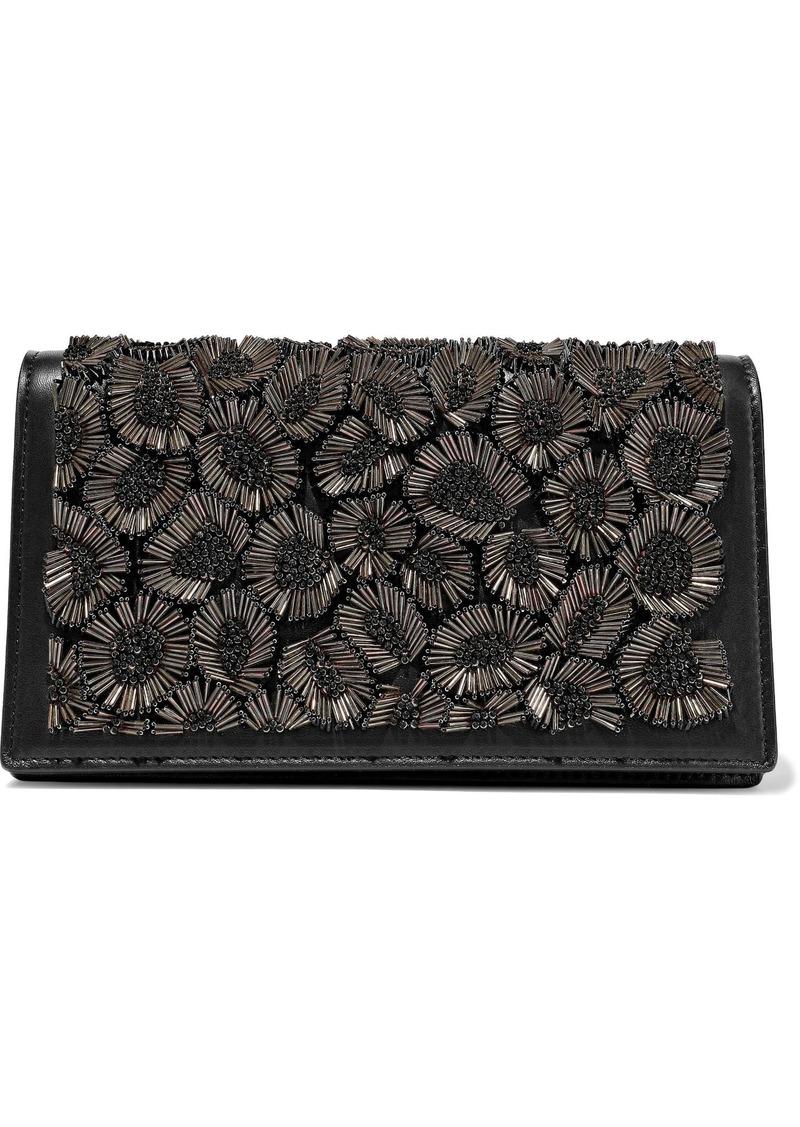 Roberto Cavalli Woman Bead-embellished Leather Shoulder Bag Black