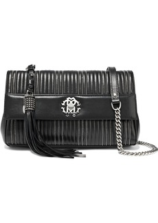 Roberto Cavalli Woman Bead-embellished Quilted Leather Shoulder Bag Black