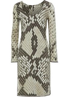 Roberto Cavalli Woman Bead-trimmed Snake-print Cady Dress Taupe