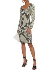 Roberto Cavalli Woman Bead-trimmed Snake-print Cady Dress Taupe