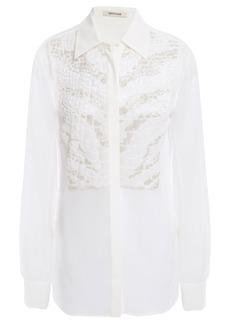 Roberto Cavalli Woman Beaded Silk-chiffon Shirt White