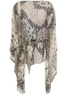 Roberto Cavalli Woman Belted Bead-embellished Snake-print Silk-chiffon Top Animal Print