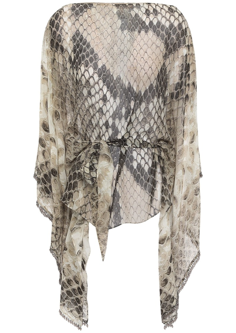 Roberto Cavalli Woman Belted Bead-embellished Snake-print Silk-chiffon Top Animal Print