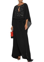 Roberto Cavalli Woman Belted Embellished Silk Crepe De Chine Gown Black