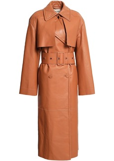 Roberto Cavalli Woman Belted Fringed Leather Trench Coat Camel