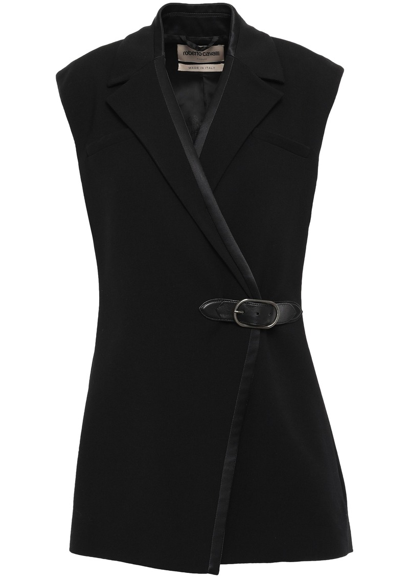 Roberto Cavalli Woman Belted Leather-trimmed Crepe Vest Black