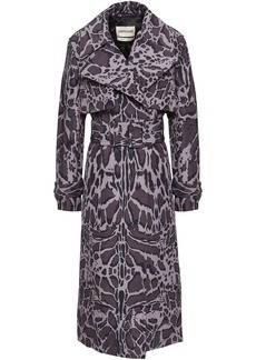 Roberto Cavalli Woman Belted Leopard-print Shell Trench Coat Animal Print
