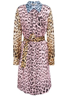 Roberto Cavalli Woman Belted Leopard-print Silk-twill Shirt Dress Animal Print