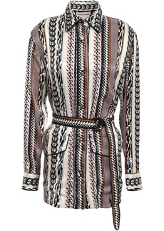 Roberto Cavalli Woman Belted Printed Silk Jacket Taupe