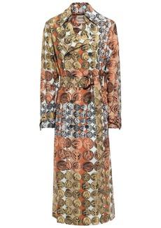 Roberto Cavalli Woman Belted Printed Silk Trench Coat Orange