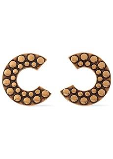 Roberto Cavalli Woman Bold C Burnished Gold-tone Earrings Gold