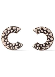 Roberto Cavalli Woman Bold C Burnished Silver-tone Earrings Silver