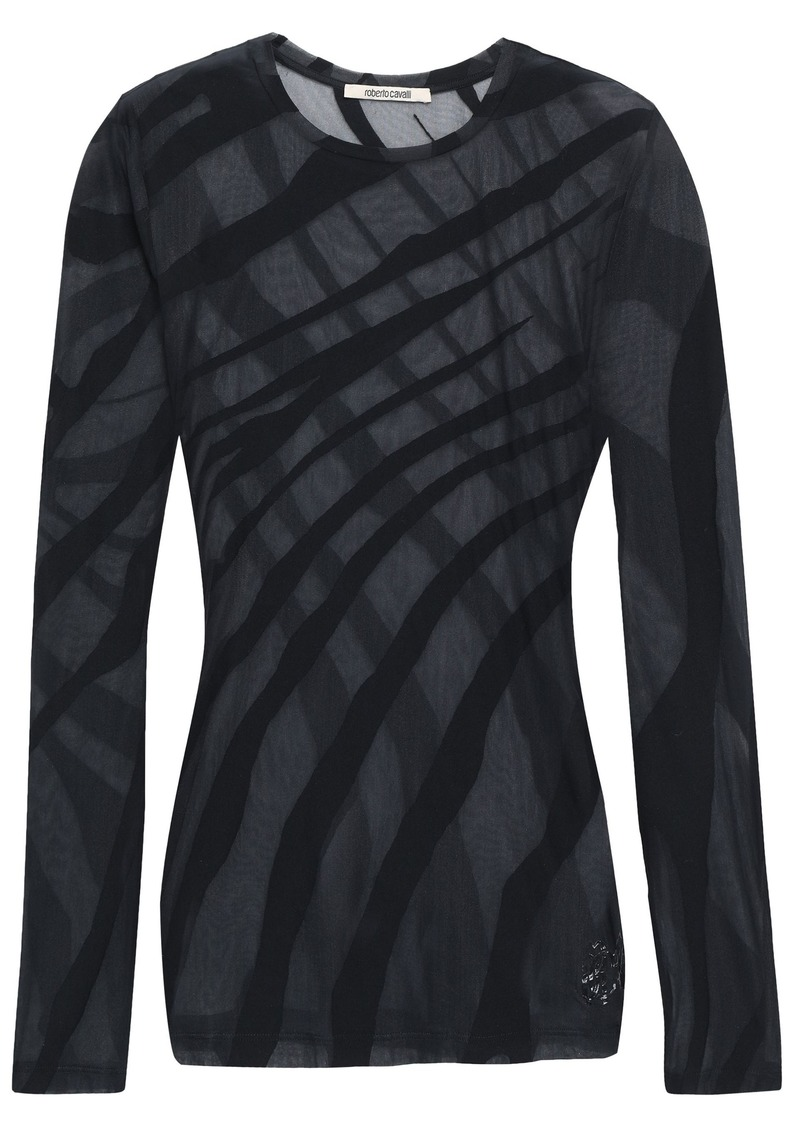 Roberto Cavalli Woman Burnout Stretch-cotton Jersey Top Black