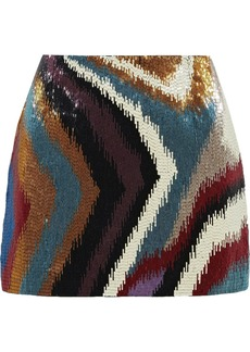 Roberto Cavalli Woman Chameleon Rug Beaded Silk-satin Mini Skirt Multicolor
