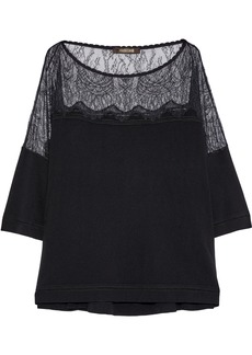 Roberto Cavalli Woman Chantilly Lace-paneled Stretch-knit Top Black