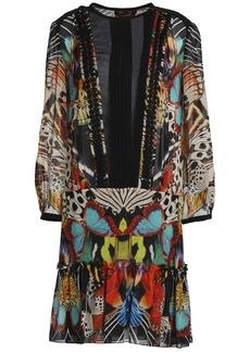 Roberto Cavalli Woman Chiffon-paneled Printed Silk-georgette Mini Dress Multicolor