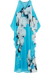 Roberto Cavalli Woman Bead-embellished Floral-print Silk-voile Maxi Dress Light Blue