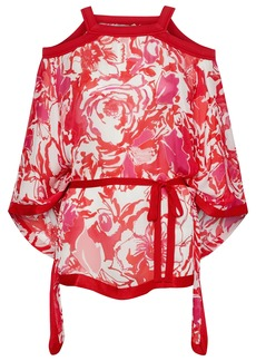 Roberto Cavalli Woman Cold-shoulder Belted Floral-print Silk-voile Top Red