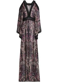 Roberto Cavalli Woman Cold-shoulder Crochet-trimmed Printed Silk-georgette Maxi Dress Black