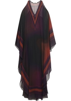 Roberto Cavalli Woman Cold-shoulder Draped Printed Silk-georgette Maxi Dress Burgundy