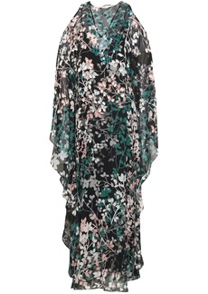 Roberto Cavalli Woman Cold-shoulder Embellished Floral-print Silk-georgette Maxi Dress Black