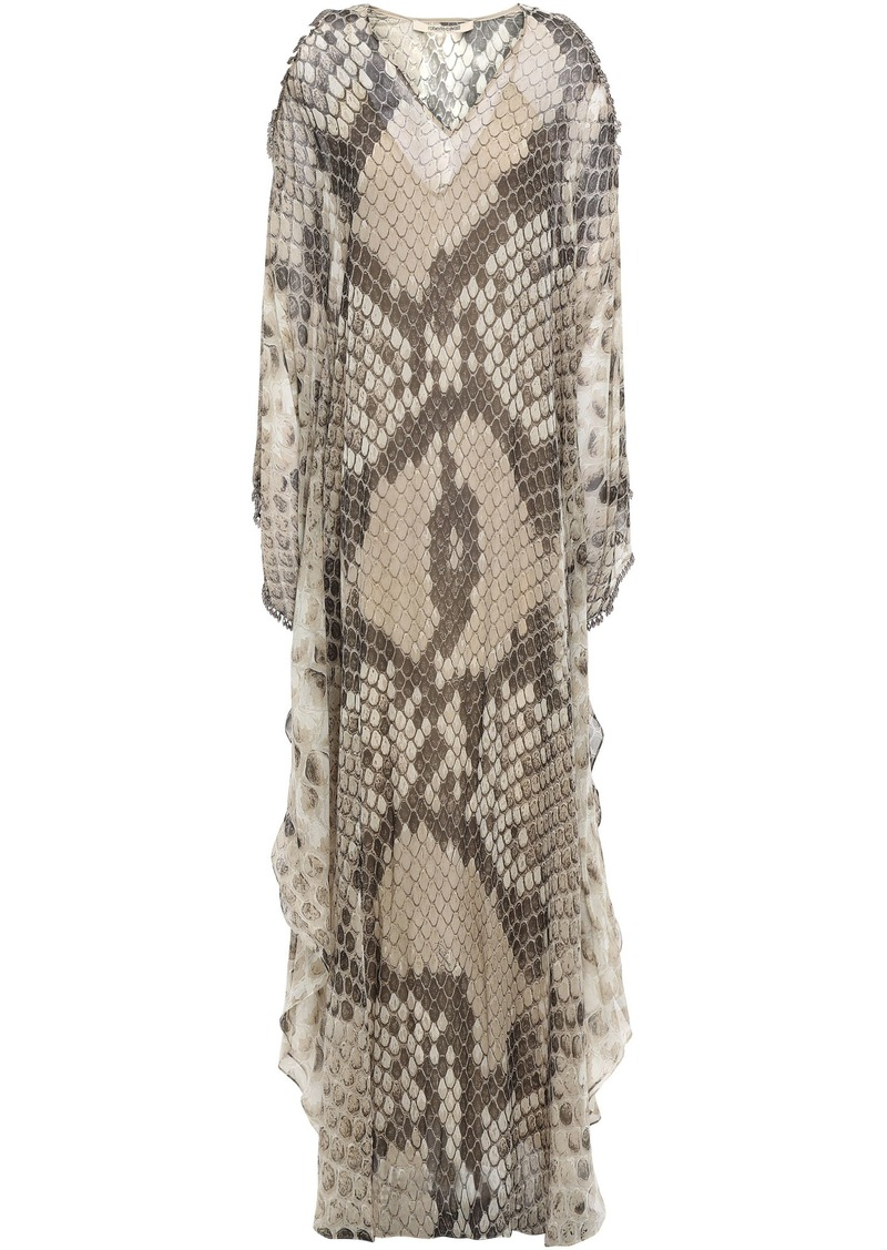 Roberto Cavalli Woman Cold-shoulder Embellished Snake-print Silk-chiffon Kaftan Animal Print
