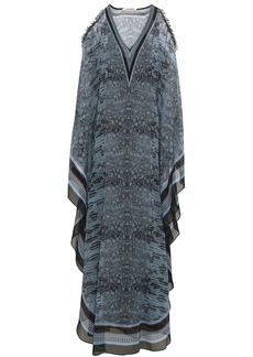 Roberto Cavalli Woman Cold-shoulder Embellished Snake-print Silk-georgette Maxi Dress Storm Blue