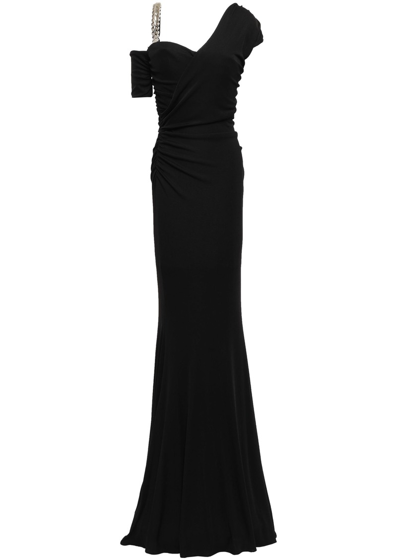 Roberto Cavalli Woman Cold-shoulder Embellished Stretch-jersey Gown Black