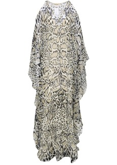 Roberto Cavalli Woman Cold-shoulder Leopard-print Silk-georgette Maxi Dress Animal Print