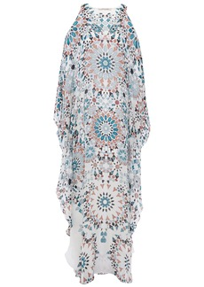 Roberto Cavalli Woman Cold-shoulder Printed Silk-chiffon Kaftan White