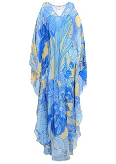 Roberto Cavalli Woman Cold-shoulder Printed Silk-georgette Maxi Dress Azure