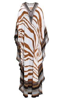Roberto Cavalli Woman Cold-shoulder Printed Silk-georgette Maxi Dress Light Brown