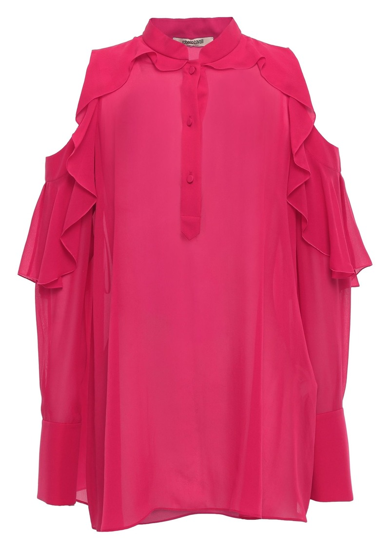 Roberto Cavalli Woman Cold-shoulder Ruffled Silk-chiffon Blouse Crimson